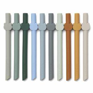 lot de pailles en silicone bleu multi mix liewood