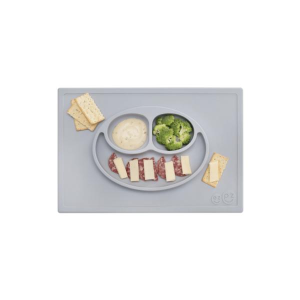 assiette-et-set-de-table-silicone-ezpz-gris