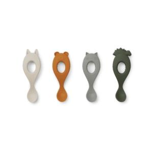 set-de-cuillères-en-silicone-liewood-vert-mix