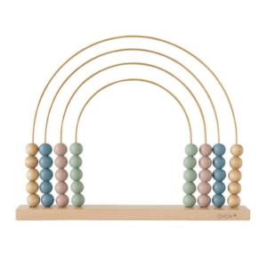 boulier abacus en bois en forme arc en ciel