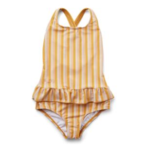 maillot de bain taille enfant une pièce rayures jaune liewood