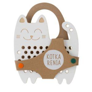 jouet à lacer en bois en forme de chat et son lacet de couleur jaune