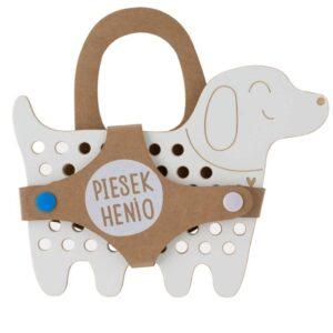 grand jouet à lacer en bois chien