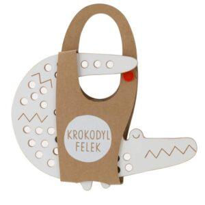 jouet à lacer en bois en forme de crocodile