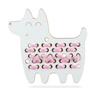 jouet à lacer en bois blanc chien