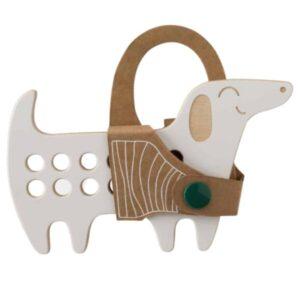 jouet à lacer en bois pour les enfants en forme de chien