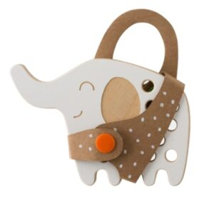 jouet à lacer en bois en forme d'éléphant