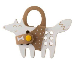 jouet à lacer en bois en forme de renard