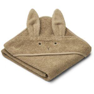 cape de bain en coton bio avec tête de lapin