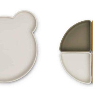 Assiette en silicone compartimentée Arne - Ours sable multi mix
