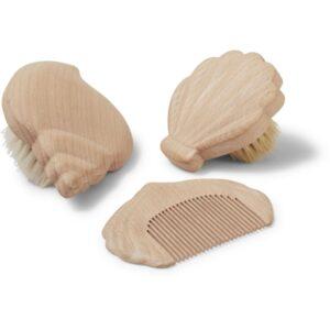 ensepmble de brosses à cheveux et peigne en bois pour bébé